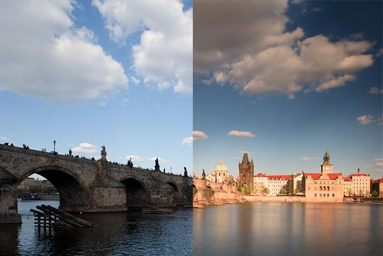 Karlův most při změně světla